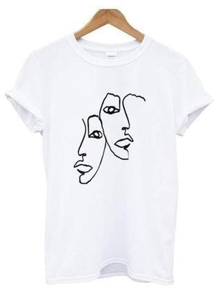 Крутая футболка с ручной росписью красками рисунок не принт минимализм силуэты