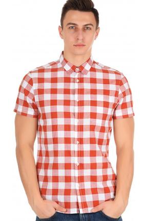 Мужская рубашка в клетку с коротким рукавом от colin's. размер л.