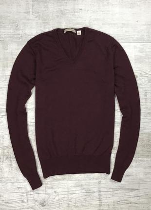 Легкий шерстяной свитер uniqlo из мягкой шерсти мериноса с v образным воротом бордовый