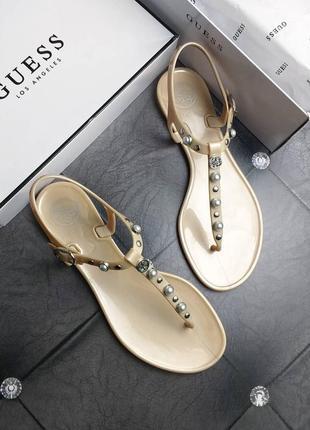 Guess оригинал силиконовые жемчужно-золотистые сандалии бренд из сша