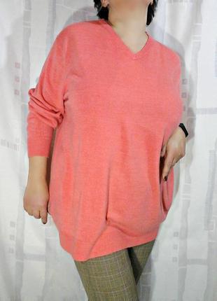 Объемный свитер оттенка лосося, большой размер или оверсайз