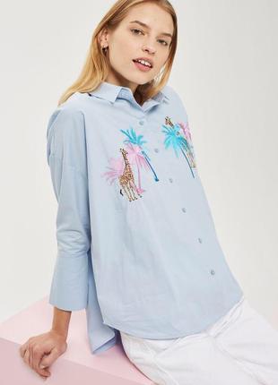 Стильная рубашка от topshop с вышивками  хс,с