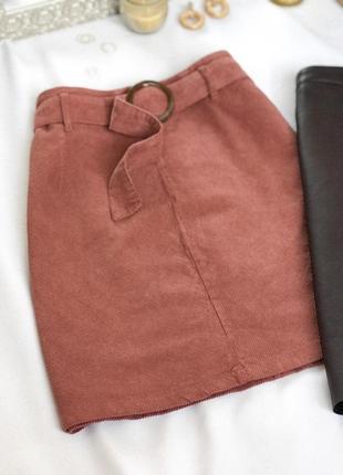 Вельветовая юбка с поясом