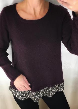 Кофта свитер с добавлением рубашки m&co