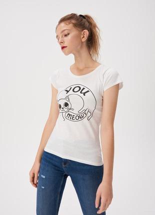 Новая белая футболка польша смешной принт кот кошка надпись you meowt ты мяуканутый s xl