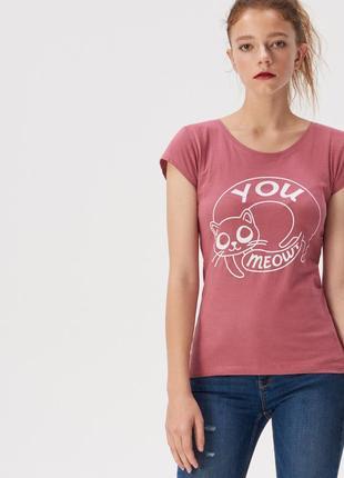 Новая амарантовая темно-розовая футболка польша принт кот you meowt ты мяуканутый s m xl