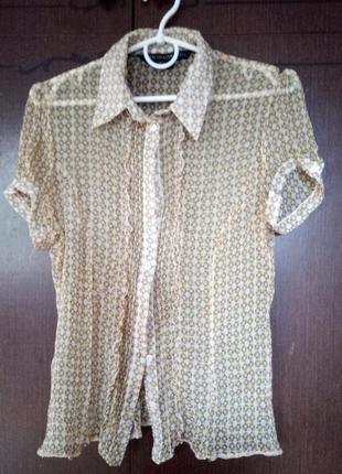 Шифонова блуза бежева сорочка
