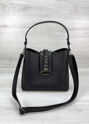 Молодежная женская сумка сати черного цвета