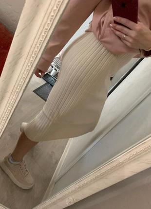 Шерстяная тёплая юбка миди под zara