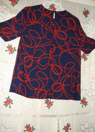 """Блуза красно-синяя""""warehouse""""р.12,100%вискоза."""