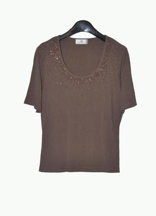 Красивая коричневая футболка из вискозы вышитая бисером uk10/12