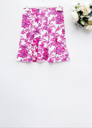 Красивая юбка льняная натуральная юбка в цветочный принт