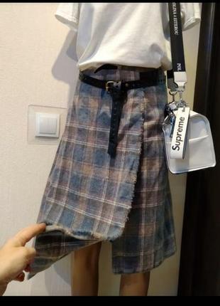 Шикарная стильная брэндовая юбка трапеция миди тёплая из натуральной шерсти