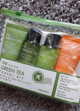 Набор tony moly the chok chok green tea зеленый чай, тонер, пенка.. + пробники  в подарок