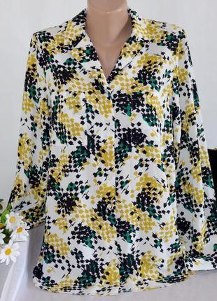 Брендовая блуза рубашка с карманами tu вьетнам принт абстракция этикетка