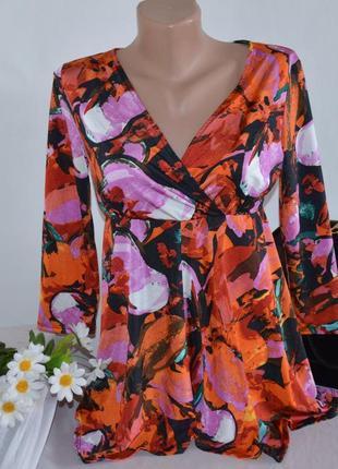 Брендовая яркая разноцветная атласная блуза wallis румыния принт абстракция этикетка