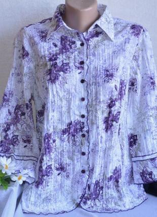 Брендовая блуза рубашка плиссе canda c&a коттон вышивка принт цветы