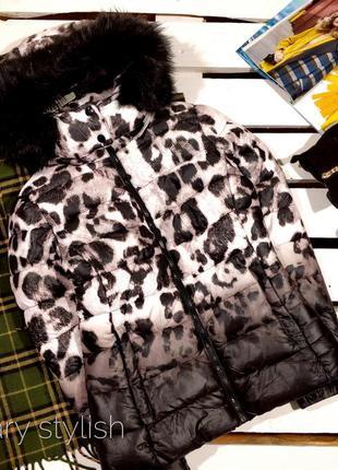 Крутая куртка леопард с мехом на капюшоне (теплая зима / деми)