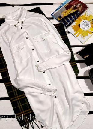 Рубашка женская удлиненная с  жемчугом