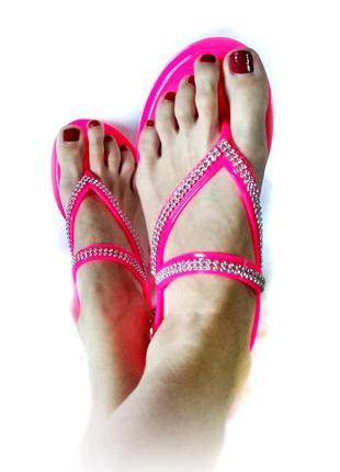 Босоножки резиновые сандалии силиконовые вьетнамками босоножки со стразами