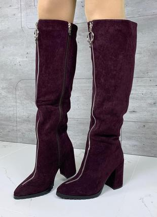 Шикарные зимние сапоги с молниями,замшевые сапоги на каблуке сливового цвета