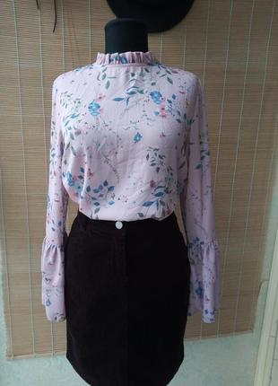 Шифоновая блуза с рукавами клеш