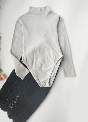 Шерстяной боди водолазка бежево-серая от  italy цвета размер s-m