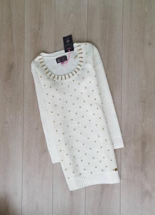 Шикарное свитер платье расшитое бусинками