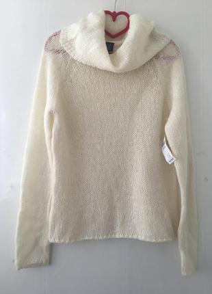 Стильный объемный свитер паутинка с горлом, натуральная шерсть, мохер,