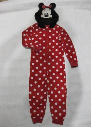6-7 лет, махровая мягенькая пушистая пижама слип домашний костюм поддёва с минни от disney