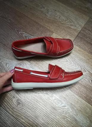 Фирменные топсайдеры туфли мокасины, кожа