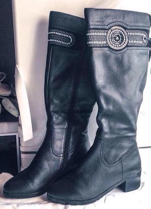 Распродажа! высокие кожаные сапоги поздняя осень-зима beliss 37 размера