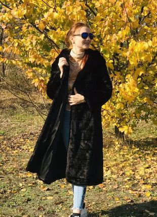 Шуба чёрная поперечная длинная с капюшоном тёплая искусственный мех норки искусственная