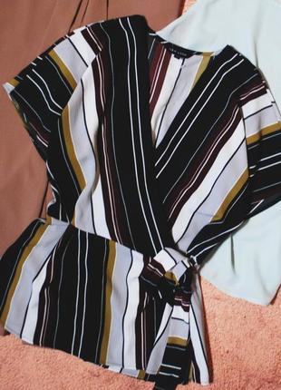 Только до 30/11! шифоновая полосатая блуза на запах