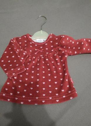 Красное платье с сердечками/теплое , велюр- бархат/рост- 56 см/ feetje
