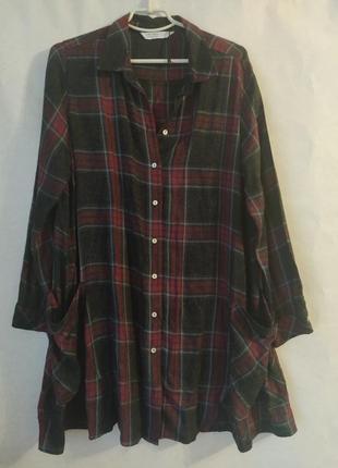 Теплое платье рубашка zara