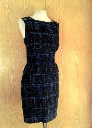 Жаккардовое хлопковое платье - сарафан синее, xl.