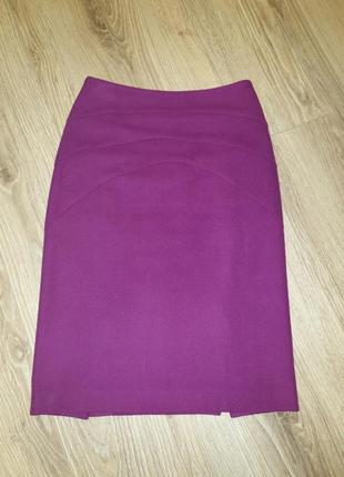 Теплая шерстянная юбка, яркий цвет