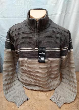 Зимний свитер на полузамке . батал. расцветки. турция
