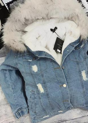 Джинсовая куртка на меху🤩🔥джинсовка с капюшоном💥полностью меховая внутри! -25% скидка! 🤑😱