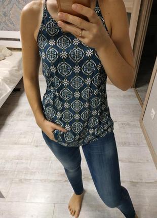Красивая легкая блуза майка в принт вискоза