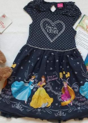 """Платье с принцессами (бель, рапунцель, золушка) disney """"george"""", 5-6 лет, 110-116 см"""