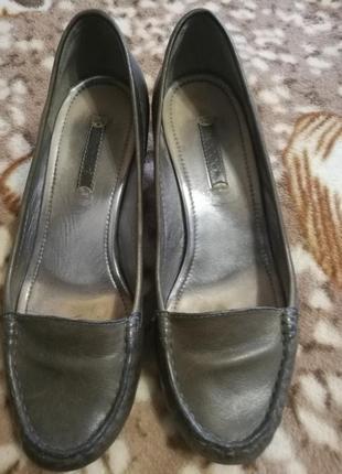 Ecco туфли мокасины натуральная кожа кожаные