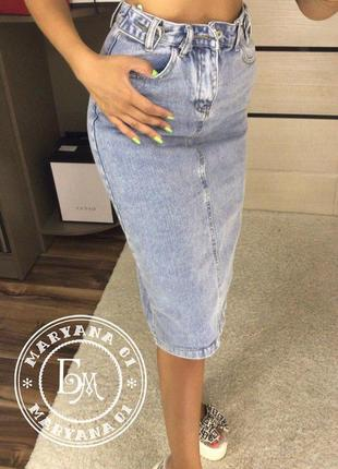 Джинсовая юбка миди размер s