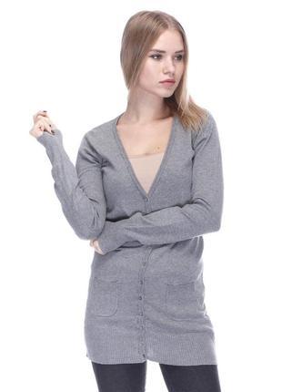 Кардиган h&m кофта с пуговицами туника удлиненный с накладными карманами хлопок