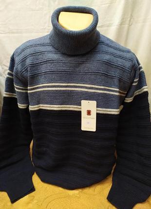 Зимний свитер с высокой горловиной ,батал. расцветки. турция
