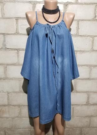 Джинсовая блуза бохо с открытыми плечами