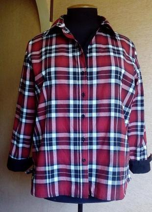 Трендовая хлопковая рубашка в клетку на 54/58 размер