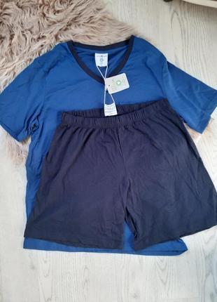 Мужская пижама 100% биокотон! синяя с черным