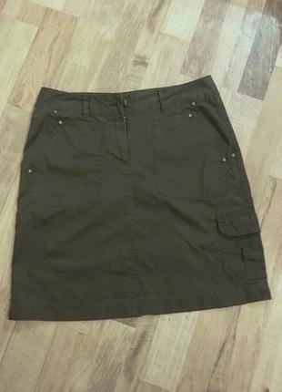 Юбка tcm tchibo джинсовая карго трапеция милитари 100% хлопок р. 36 - 38